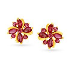 18KT Ruby Floral Studs