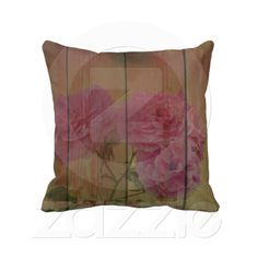 Inspired Rustic Pink Roses Throw Pillow from Zazzle.com