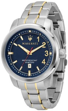 Stainless Steel Case Two Tone Stainless Steel Bracelet Quartz Movement Mineral Crystal Blue Dial Analog Display Date Display Screw Down Crown Solid Case Back Deployment Clasp Water Resistance Approximate Case Diameter: Approximate Case Thickness: Maserati, Silver Man, Blue And Silver, Stainless Steel Bracelet, Stainless Steel Case, White Watches For Men, Watch Sale, Automatic Watch, Casio Watch