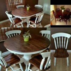DIY Farmhouse Table: Turn Your Table Into A Farmhouse Table … - All About Decoration Round Farmhouse Table, Farmhouse Kitchen Decor, Round Dining Table, Dining Room Table, A Table, Farmhouse Ideas, Dining Set, Oak Table And Chairs, Painted Kitchen Tables