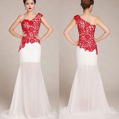 lace Prom Dress,one shoulder prom dress, long prom dress,evening dress,BD0700