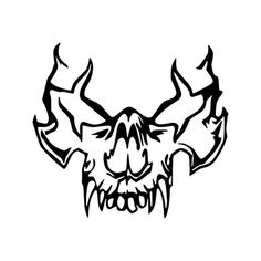 Tribal Vampire Skull 5 Vinyl Decal Sticker BallzBeatz . com Evil Skull Tattoo, Skull Tattoo Design, Tattoo Design Drawings, Pencil Art Drawings, Cool Art Drawings, Lion Tattoo, Skull Tattoos, Tattoo Sketches, Tribal Tattoos