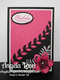 Birthday Botanicals card features the inlaid die cut technique using Stampin' Up!'s Botanical Builder framelits available from my online store: http://www3.stampinup.com/ECWeb/ProductDetails.aspx?productID=140625&dbwsdemoid=4011749   #angelaspaperarts  #Occasions2016 #BotanicalGardensSuite
