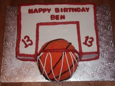 Basketball cake. You could bake the ball in a glass bowl so it's 3 dimensional.