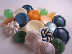 vintage buttons. Cottage chic mix of peach white blue by JessEBees, $7.95