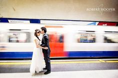 Chinese pre wedding photos in London underground tube station