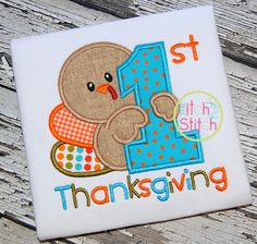 Baby's Thanksgiving Embroidered Shirt, Turkey Day, Baby's Fall Shirt, Personalized Embroidery Baby Embroidery, Applique Embroidery Designs, Machine Embroidery Applique, Applique Patterns, Embroidery Files, Applique Designs For Boys, Viking Embroidery, Embroidery Stitches, Fall Applique