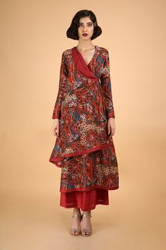 This set features a red gulistaan printed angrakha set. The printed angragha kurta with cowl collar is handcrafted in chanderi and highlighted with a maroon border at the neck, hem, and sleeves and... Anarkali Gown, Popular Culture, Body Measurements, Indian Wear, Types Of Sleeves, Cowl, Hand Weaving, This Or That Questions, Fabric