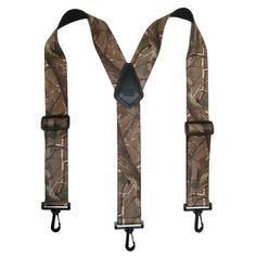 CTM® Men's Elastic Camouflage Suspenders with Black Swivel Clips