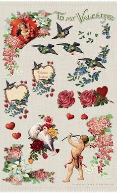 FREEBIE: FREE VALENTINE EPHEMERA BY THE GRAPHICS FAIRY...   #digital  #printable  #holidays