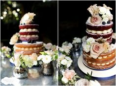 Naked Cake at Didsbury House Hotel. Top tier red velvet, bottom tier butterscotch, BC piped into pearls for a more decorative look