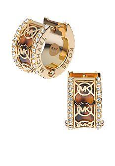 Michael Kors Jewelry Tortoise Monogram Huggie Earrings #Belk #Accessories love.thegoodbags.com Michael Kors Outlet !Most bags are under $61.99 !THIS OH MY GOD ~