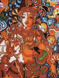 Ardhanarishwara Kerela Murals x Indian Traditional Paintings, Indian Art Paintings, Oil Paintings, Ganesha Painting, Madhubani Painting, Art Forms Of India, Mural Art, Murals, Kerala Mural Painting