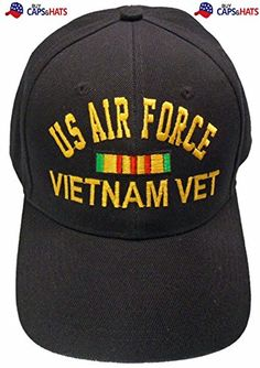 a947e6b04c8 Air Force Vietnam Veteran Baseball Cap Black Hat with Ribbons Buy Caps and  Hats http