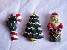 Christmas Magnets Santa Claus with Bag of Toys, Candy Cane and Christmas Tree - for sale at Wenzel Thrifty Nickel ecrater store