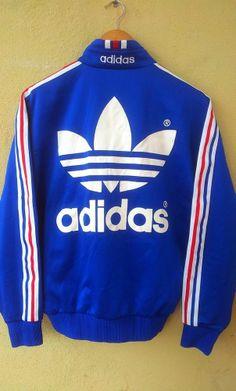 Vintage ADIDAS Sweater Blue Zipper Sweatshirt Big Logo Hip Hop Style Swag