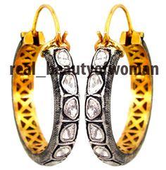 Artdeco Design 2.56cts Polki Uncut Antique Cut Diamond Wedding Earrings Hoops #realbeautyofwoman #EarringsHoops