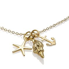 Starfish Anchor Beach Necklace Gold , Bridesmaid Anchor Jewelry by Shiny Little Blessings. Use PIN10 for 10% off.