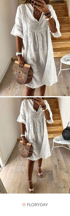Solid hollow out half sleeve knee-length A-line dress, gorgeous, daily dress. Cute Outfits With Jeans, Casual Fall Outfits, Summer Outfits, Fashion Images, Look Fashion, Fashion Outfits, Dress Fashion, Korean Fashion, Back School Outfits