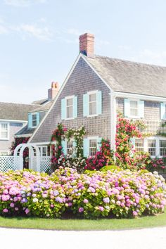 Climbing Roses and Hydrangeas Framed Nantucket Art Print Nantucket Style Homes, Nantucket Cottage, Cottage Style, Nantucket Red, Nantucket Island, Cozy Cottage, New England Homes, New England Style, Coastal Homes