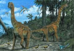 Island of Dwarves by tuomaskoivurinne  pair of dwarf sauropods Europasaurus holgeri with Compsognathus longipes and Archaeopteryx lithographica. Also featured, a pterosaur Germanodactylus cristatus.