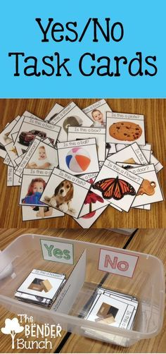 Yes/No Question Task Cards {Is this a.} Language, Yes/No Questions, WH Questions, Interrogative Sentences Autism Activities, Speech Therapy Activities, Language Activities, Classroom Activities, Sorting Activities, Autism Classroom, Special Education Classroom, Classroom Setup, Classroom Behavior