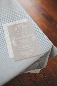 grey + white invitation