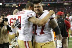 Colin Kaepernick and Mike Iupati(#77) celebrate. 49ers vs. Falcons for the NFC Championship on Jan 20th 2013.