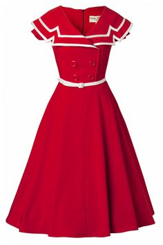 Captain Red Flare dress Bettie Page Clothing - Bettie Page Clothing - Captain Red Flare Dress. I would actually wear this. Vintage Outfits, 50s Outfits, Vintage Dresses, Fashion Outfits, 1950s Dresses, 1950s Style, Moda Vintage, Vintage Mode, 1950s Fashion