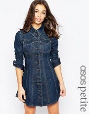 ASOS PETITE Denim Western Shirt Dress with Flippy Skirt