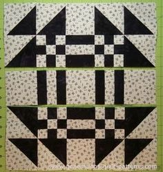 Goose in the Pond Quilt Block is a skillbuilding beginner block! Simple nine patches, quick-pieced HSTs and Rail Fence units. Lickety Split! You did it!