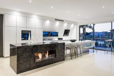 marble style stone benchtop grey cupboards - Google Search