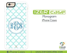 Monogram Personalized iPhone 6/6S Case, iPhone 6/6S PLUS, iPhone 5/5S,  iPhone 5C, iPhone 4/4S Light Blue Pattern Cute
