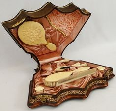 Antique Victorian Leather Embossed Celluloid Dresser Box w Complete Grooming Set. Vicki Baker.