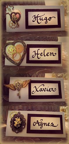 I love these name cards so it prompted me to do a Steampunk wedding moodboard - Once Upon A Nerdy Eater Steampunk Wedding Themes, Steampunk Theme, Steampunk Design, Victorian Steampunk, Steampunk Fashion, Trendy Wedding, Our Wedding, Gatsby Wedding, Dream Wedding