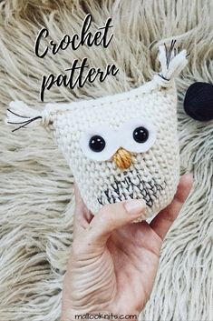 Crochet snow owl, christmas ornament, crochet pattern owl amigurumi