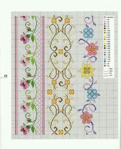 Kanaviçe çiçek bordür vintage