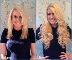 Hair extensions before and after using European hair, by NuTress Hair Extensions Manchester. www.nutress.co.uk
