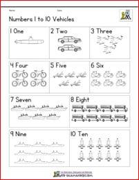 Free worksheets library and print pre preschool math numbers vehicles mreichert kids pages educational kindergarten printable Numbers Preschool, Learning Numbers, Math Numbers, Preschool Math, Kindergarten Activities, Activities For Kids, Maths, Indoor Activities, Pre K Math Worksheets