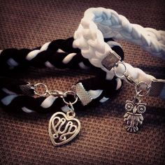 Home made bracelet from old t shirts :) #diy #braclet Tutorial: https://www.youtube.com/watch?v=NgeT4ihEkzE