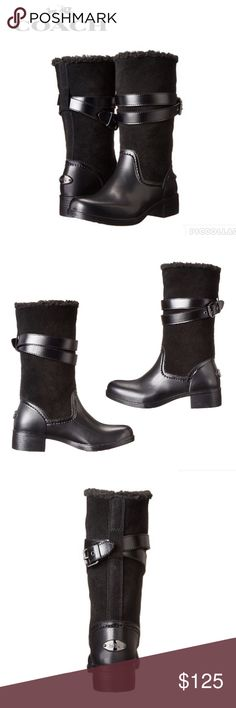 New Listing* NWOT Coach Zena Boot Coach cold weather boots, new with the size sticker still stuck to bottom but no box/tags and it has price of $150 in silver marker on bottom of shoe (like how they mark TJ Max Runway shoes). Lined with (I think faux) shearling for warmth and finished with buckle straps and signature plaques on the back of each heel. Sturdy boots and true to size according to reviews. Coach Shoes Winter & Rain Boots
