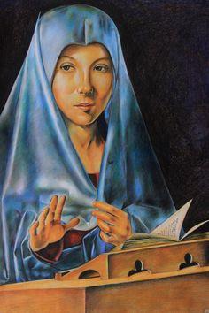 """Riproduzione dell'opera """"L'Annunziata"""" di Antonello da Messina. Tecnica -pastelli acquarellabili."""