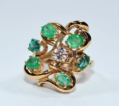 Handcrafted 4tcw Colombian Emerald & Diamond 14kt Yellow Gold Waterfall Ring by rareestatefinds4u on Etsy