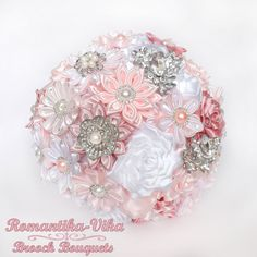 Brooch Bouquet. White and Pink wedding brooch by RomantikaVika, $250.00