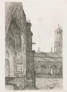 Deel van een klooster bij de Dom van Utrecht, Josef Hoevenaar Wz, 1850 - 1926