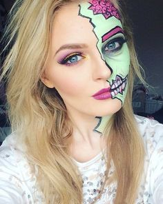 Cool and Scary Half Face Pop Art Zombie Makeup Look