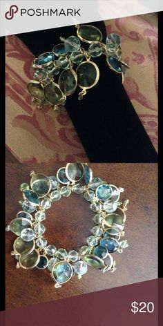 Lovely Chico's Beaded Bracelet Light green and turquoise clear beads surrounded in gold. Stretch. Chico's Jewelry Bracelets