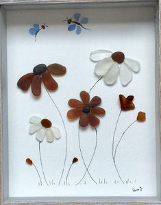 Genuine Sea Glass Framed Artwork Flowers Picture Butterfly Art by LifeCreationDesign on Etsy