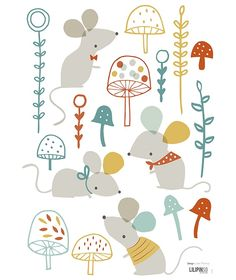 Muisjes en paddenstoelen - Muursticker   Forest   Gras onder je voeten   Lilipinso   Kinderkamer inrichten in Forest stijl