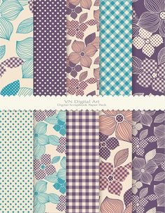 "Digital Paper, Dot & Plaid Flower Digital Scrapbook Paper Pack (8.5x11""-300 dpi) -- Instant Download -- 10 Digital papers -- 410"